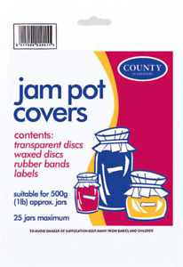 Jam Pot Covers - Clear Wax Discs, Circles, Rubber Bands, Labels - Pack 25