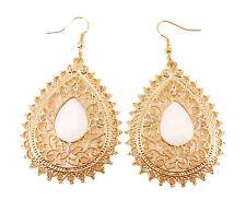 Elegant Gold White Tear Teardrop Filigree Pearl Dangle Drop Earrings