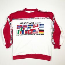 Vtg Graceland Christmas Sleeve Tape Countries 80s Color Block Spell Out Flags Xl