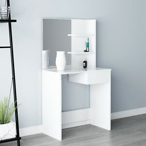 WestWood Makeup Jewelry Wood Dressing Table With Mirror Shelf Drawer DT06 White