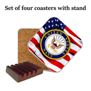 UNITED STATES NAVY COASTER SET OF 4 WITH FREE MAHOGANY STAND AMERICAN FLAG