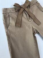 ZARA 9 ans 🌸 Pantalon Fille en toile beige coupe slim et ceinture