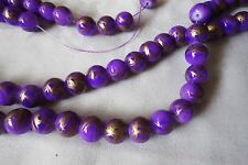 20 Purple/Antique Gold 10mm Glass Beads #g3146 Combine Post-See Listing