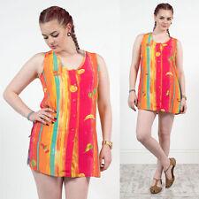 Da Donna vintage Bright Bold Striped PATTERN FRUTTA Scollo Profondo Camicia Blusa 10