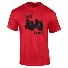 Mens Cat Black Flag Funny Hipster Kittens Punk Rock T-shirt S-XXL