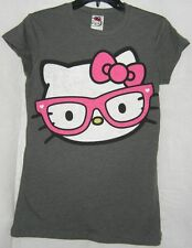 Hello Kitty Tee T- Shirt GRAY NERD PINK GLASSES SIZE MEDIUM