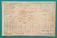"SALT LAKE CITY Utah Town Plan - 1909 MAP Baedeker 4 x 6"" (10 x 15,5 cm)"