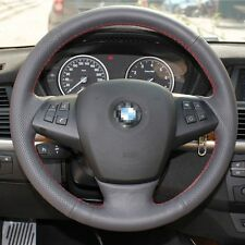 1 set Black Leather Wrap Steering Wheel Cover Stitch on For BMW X5