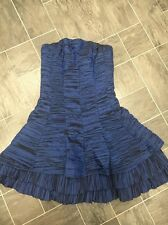 THE VESTRY SIZE 10 BLUE STRAPLESS PARTY PLEATED BONED CRIMPED CORSET DRESS
