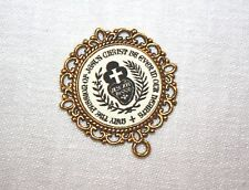 Antique Gold Rosary Center Part/Color/Rosary Making/Passionist Insignia Medal #8