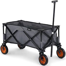 VonHaus Folding Camping Cart with Lining -  4 Wheeled Festival Trolley
