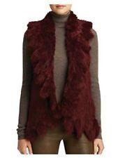 525 America Ruffle Rabbit Fur Vest $398 MSRP NWT