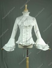 Women Victorian White Blouse Shirt Steampunk Ghost Punk Halloween Costume B018 M