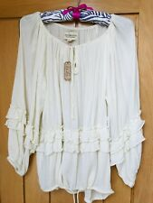 NEW RALPH LAUREN DENIM & SUPPLY BOHO CREAM RUFFLE TOP SIZE SMALL (UK 10-12)