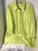 Chico's Womens Sz 3 Silk Button Front Tunic Blouse Top Lime Green 3/4 Sleeves