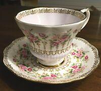 Royal Albert Green Park Series Tea cup & saucer Pink Roses Mauve Purple Vintage