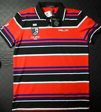 RLX Ralph Lauren Oakmont 2016 US Open Polo striped shirt red and black size M