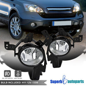 For 2007-2009 Honda 07-09 CRV CR-V Fog Lamps Front Bumper Lights+Switch Kit