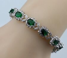 "Green Emerald  Topaz Oval Shaped Gemstones Tennis 925 Silver Bracelet 7-8"" Adj"