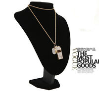 Fashion Lady Jewelry Pendant Gold Plated Crystal Chain Whistle Necklace Charm