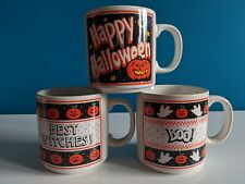 Set Of 3 PapÉL Halloween Glow In The Dark Mugs Taiwan Vintage Best Witches Boo