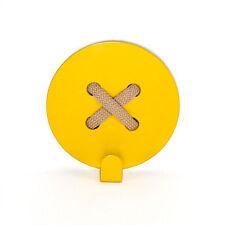 Metal Coat Rack Wall Hooks Steel Yellow Button Handmade Hanger FREE SHIPPING