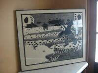 Mary Okheena Inuit Artist Bear Tracks Woodcut On Paper Print Eskimo #5/35 Framed