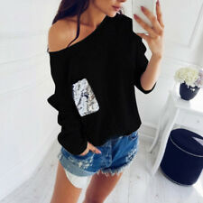 Womens Sequin Pocket Loose Jumper Blosue Lady One Shoulder Casual Sweatshirt Top