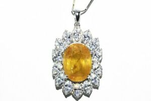 $4,000 22.75CT NATURAL YELLOW SAPPHIRE & TOPAZ HALO CLUSTER DROP PENDANT SILVER