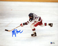 MIKE ERUZIONE SIGNED AUTOGRAPHED 8x10 PHOTO OLYMPIC GOLD HOCKEY HERO BECKETT BAS