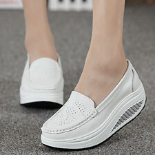 US7.5 White High Platform Shoes Shape Ups Toning Fitness Walking Sport Sneaker