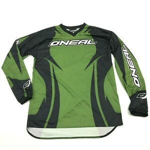 O'neal MX Motocross Jersey Size Small S Relaxed Green Black Long Sleeve Padded