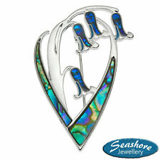 Bluebell Brooch Paua Abalone Shell Silver Fashion Jewellery 50x30mm Gift Boxed