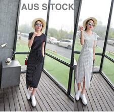 Quality MODAL Stripes Short Sleeve Casual Dress Classic Womens Long Beach Dress