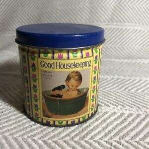 Blue And Yellow And Purple Good Housekeeping Round Vintage Tin