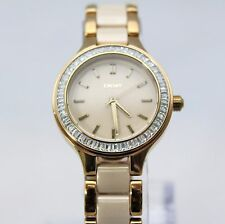 New DKNY NY2467 Chambers Crystal Dial Beige Stainless-Steel Quartz Women Watch