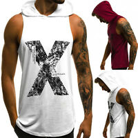Men Sleeveless Hoodie Tank Tops Muscle Casual Summer Sport Hooded Vest T-Shirt