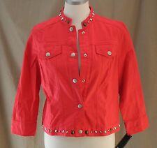 Lark Lane, Size 8, Graphic Appeal Poppy Denim Jacket, New with Tags