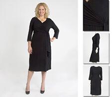 NEW Zaftique LS WRAP DRESS Black 1Z 6Z / 16 20 28 32 36 / XL 1X 2X 3X 4X 5X 6X