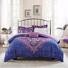 Full Size Bedding Set Bed In A Bag Microfiber Comforter Modern Purple Medallion