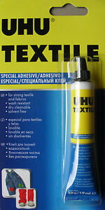 UHU Textile Adhesive Fabric Glue, Hemming Mending Glueing Clothes etc 19ml tube