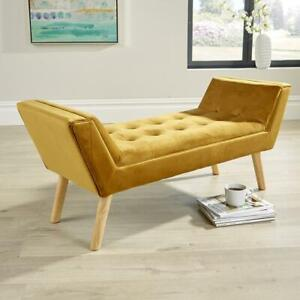 Felix Velvet Mustard Upholstered Fabric Bench Stool Chair Footstool Seconds