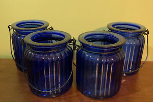 Set Of 4 Ribbed Cobalt Blue Glass Jars w/ Wire Metal Handle For Candle Or Candy