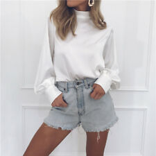 Women Spring Autumn Long Sleeve Loose Blouse Shirt High Neck Lady Tops Plus Size
