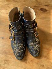 Chloe Susanna Studded Leather Ankle Buckle Boots EU 38 / UK 5 Dark Blue