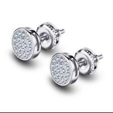 Men 14k White Gold Sterling Silver Lab Diamond Round Screw Back Stud Earrings