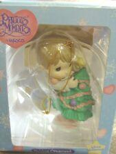 Precious Moments Winter Wonderland Boy Putting Star on Tree Ornament - 1997