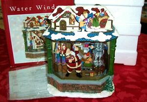 "CHRISTMAS WATER WINDOW ""SANTA WITH ELVES IN WORKSHOP"" LIGHTED MUSICAL DISPLAY"
