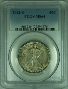 1942-S Walking Liberty Silver Half Dollar 50c PCGS MS-64 Attractive Toning (30)