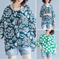 ZANZEA Women Floral Print Casual Long Shirt Tops Round Neck Loose Blouse Jumper